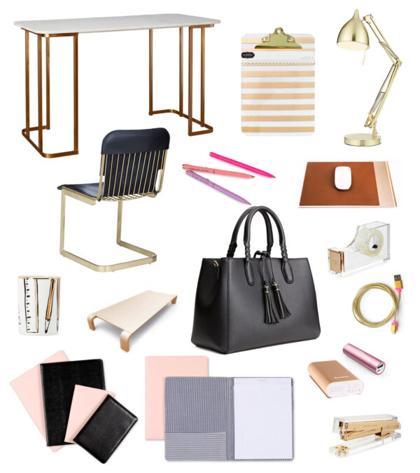 gold desktop accessories modern girl office hers desk girly feminine