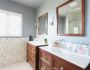 white subway tile with dark black grout bathroom jonathan adler touches zebra rug and bathroom refresh home tour belonging to diana elizabeth, lifestyle blogger