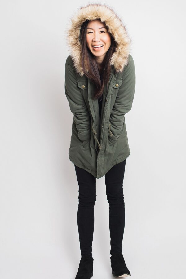 green parka Kmart free people black oh glove it layering lace top