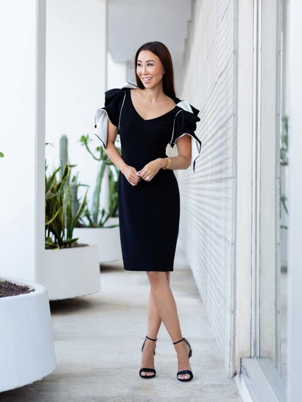 Badgley Mischka origami sleeve black dress on lifestyle blogger Diana Elizabeth
