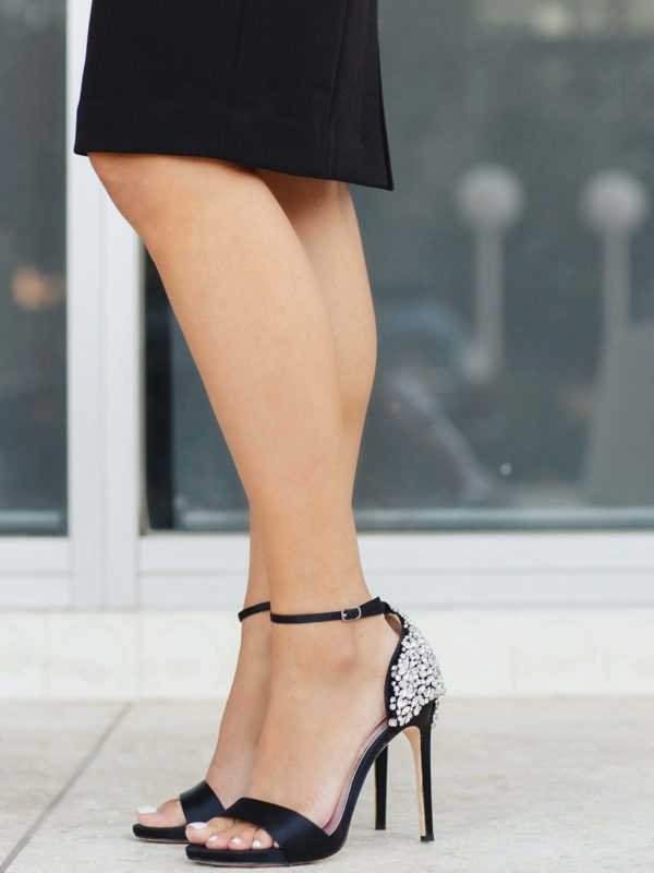 ELEANOR EMBELLISHED HEEL EVENING SHOE badgley mischka shoes on lifestyle blogger Diana Elizabeth - great guest or wedding heels comes in white as well, crystal embellished heels