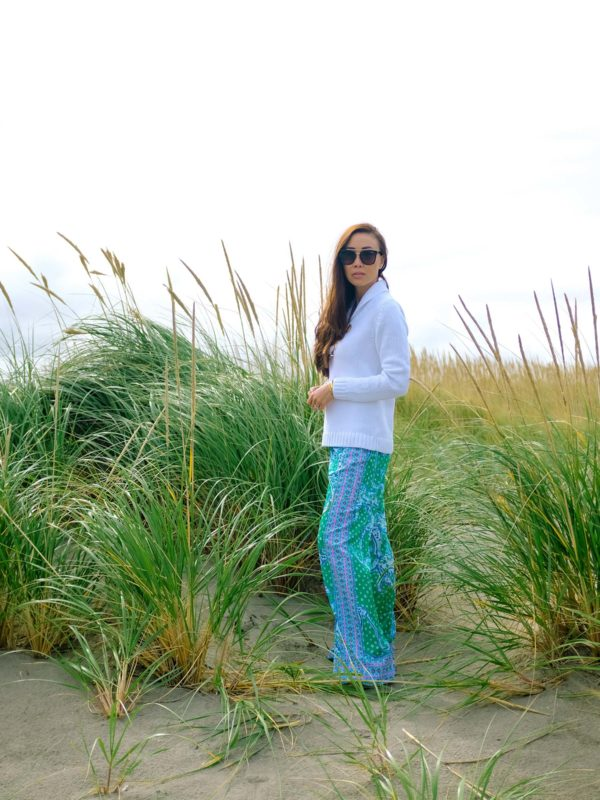 sitting on Long Beach Washington in Lilly Pulitzer BAL HARBOUR MID-RISE PALAZZO PANT