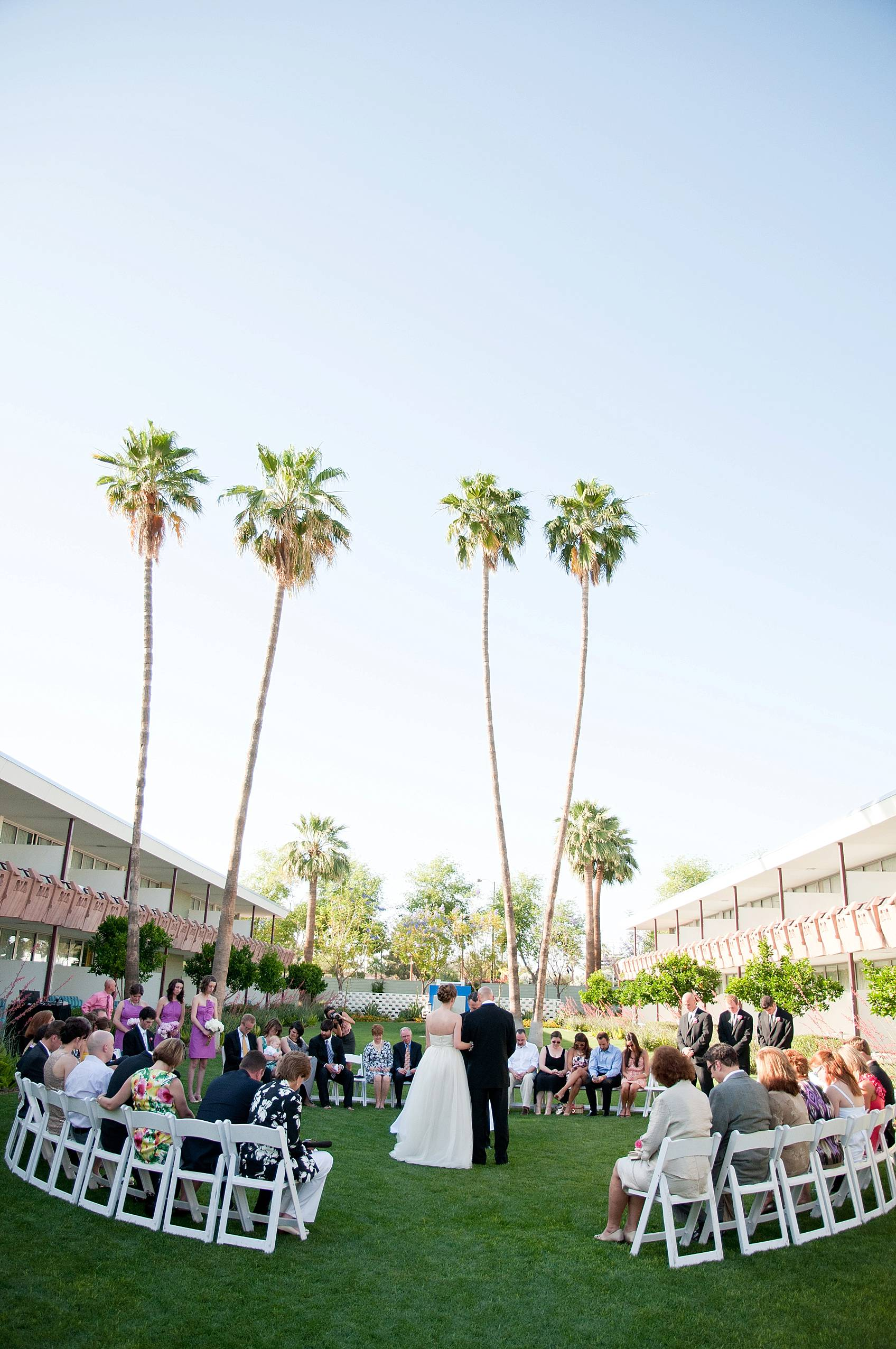 wedding ceremony on lawn at hotel valley ho in shape of circle