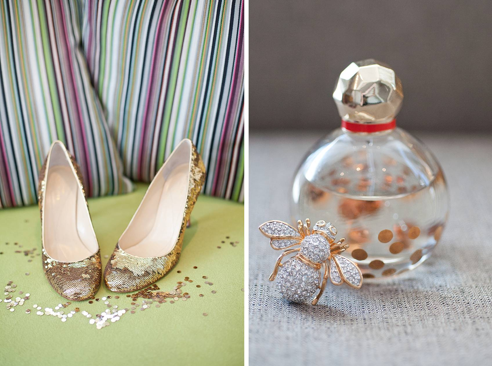 kate spade glitter heels with confetti and perfume with vintage brooch bumble bee