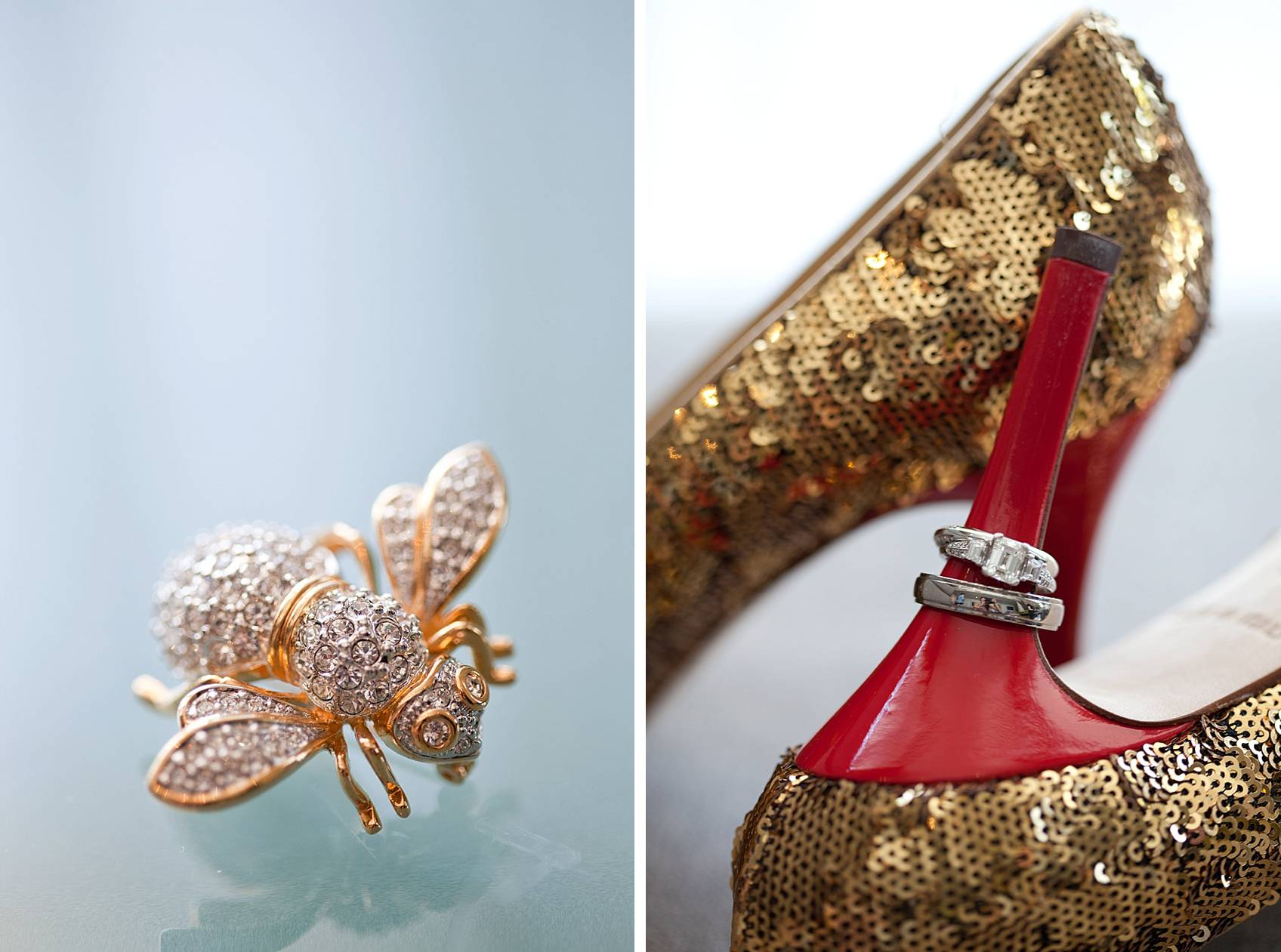 vintage bee brooch from grandmother and rings on kate spade heel wedding detail shot