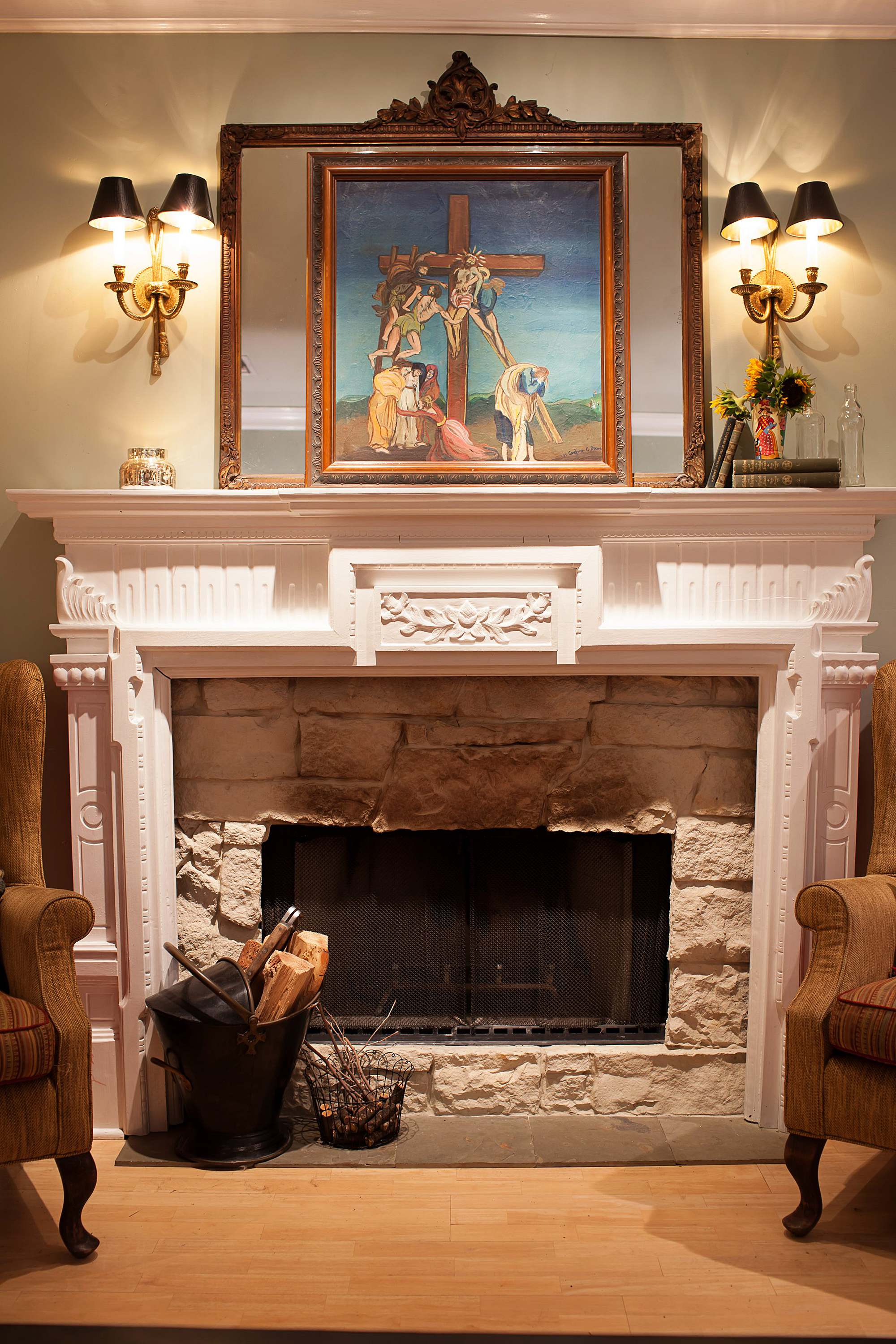 fire place living room family room country farmhouse small seating area entryway console home decor boho farm and home cottage English cottage style cozy feels phoenix arizona