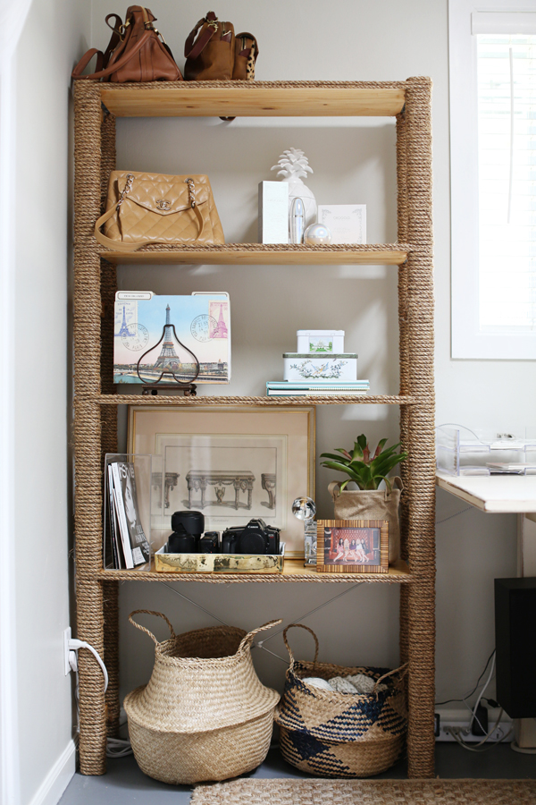 diy ikea hack rope bookshelf diana elizabeth. Black Bedroom Furniture Sets. Home Design Ideas