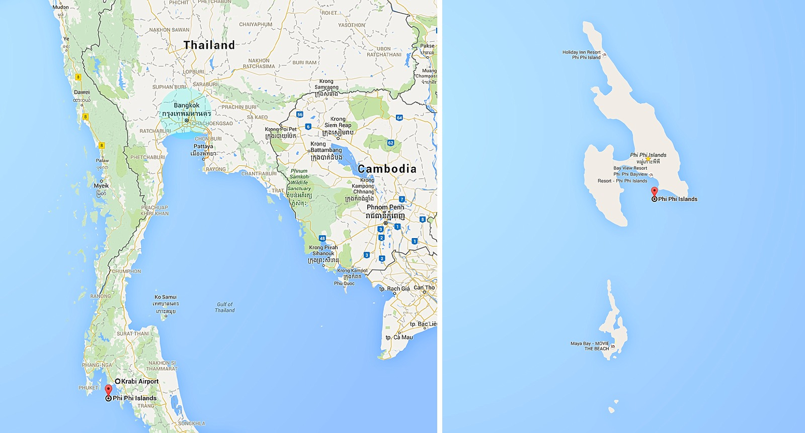 map of Thailand phi phi islands to show where they are located and where to stay and go