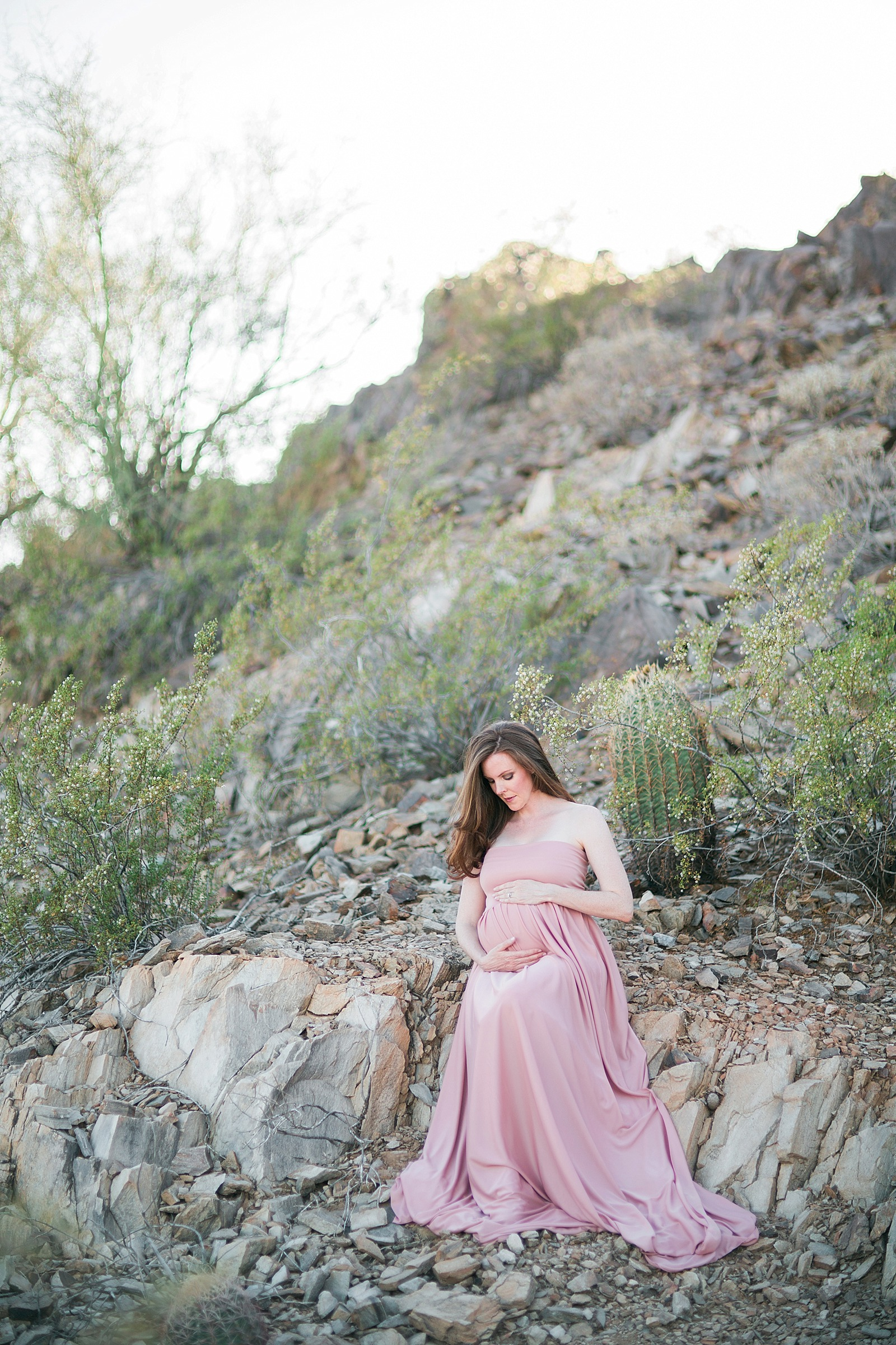 pink dusty rose dress maternity in desert idea baby girl (c) diana elizabeth photography, llc www.dianaelizabeth.com