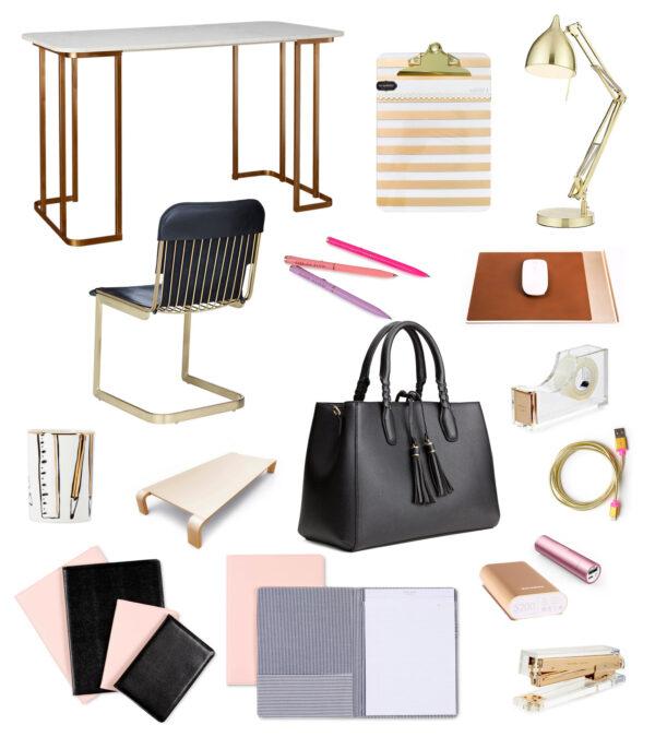 gold desktop accessories modern girl office hers desk girly feminine