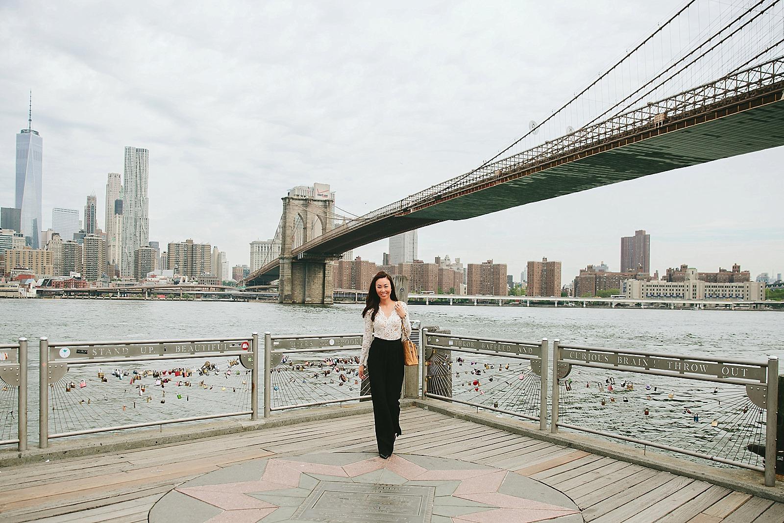 lace bodysuit black high waisted pants brooklyn bridge new york / diana elizabeth / lifestyle blogger www.dianaelizabethblog.com