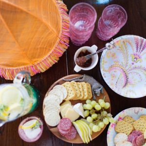 girls outdoor party get together cheese plate horchow patio party feminine pink