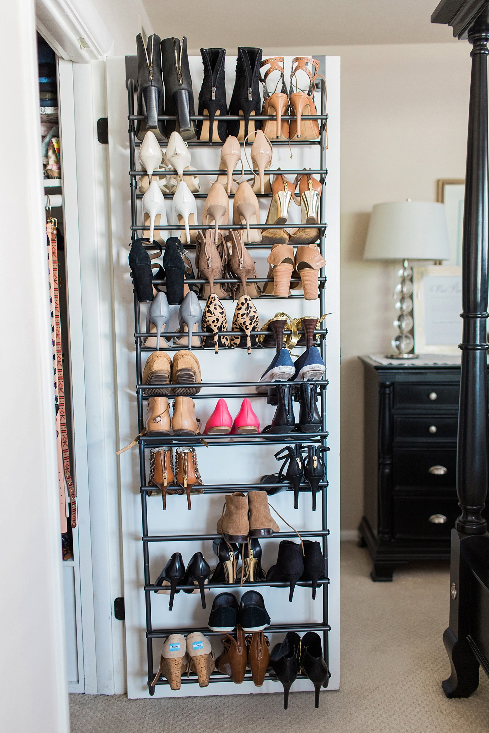 36 pairs of shoes behind the closet door