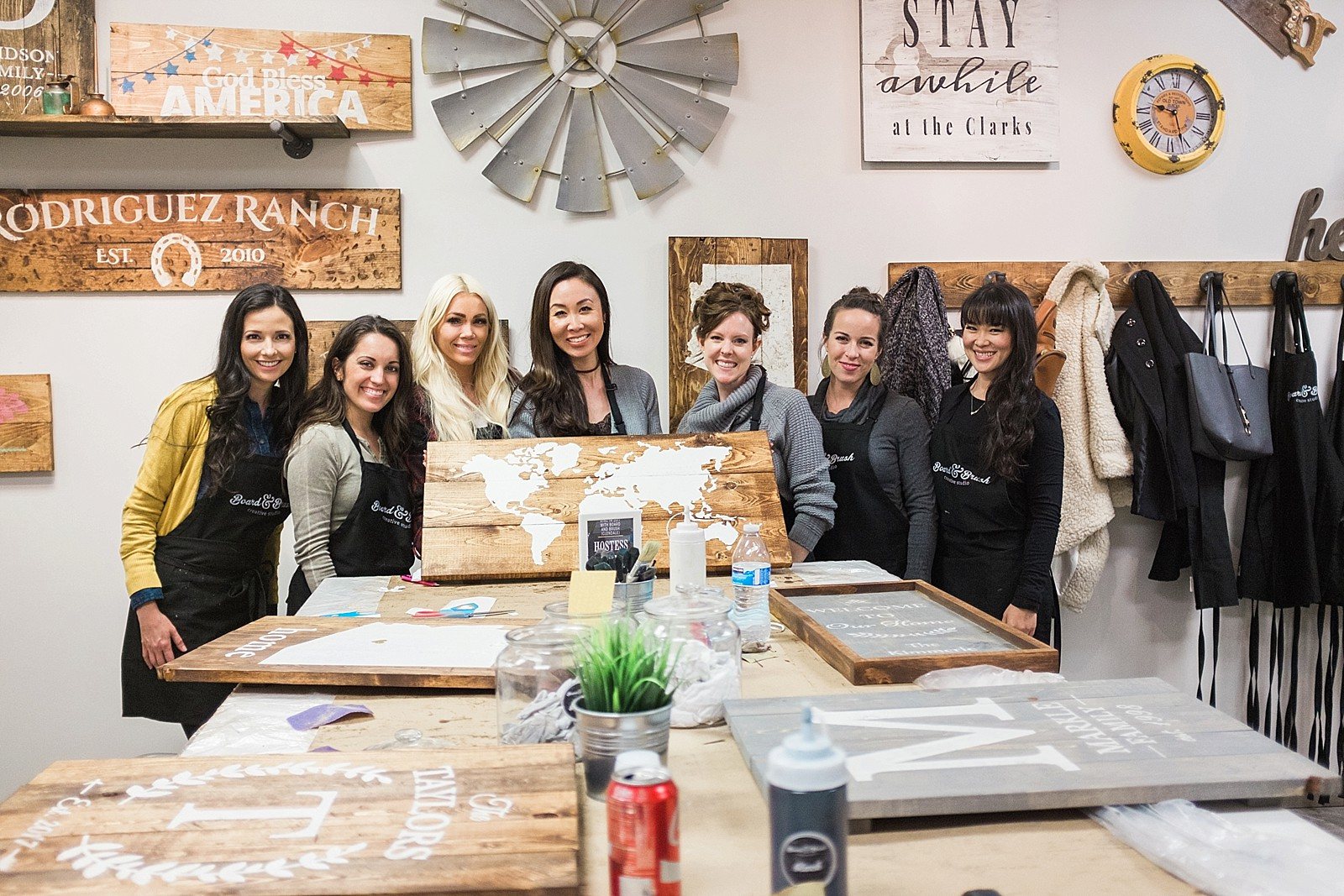 fun girls night custom painted wood boards board and brush world map project - similar to paint your own canvas or ceramic piece