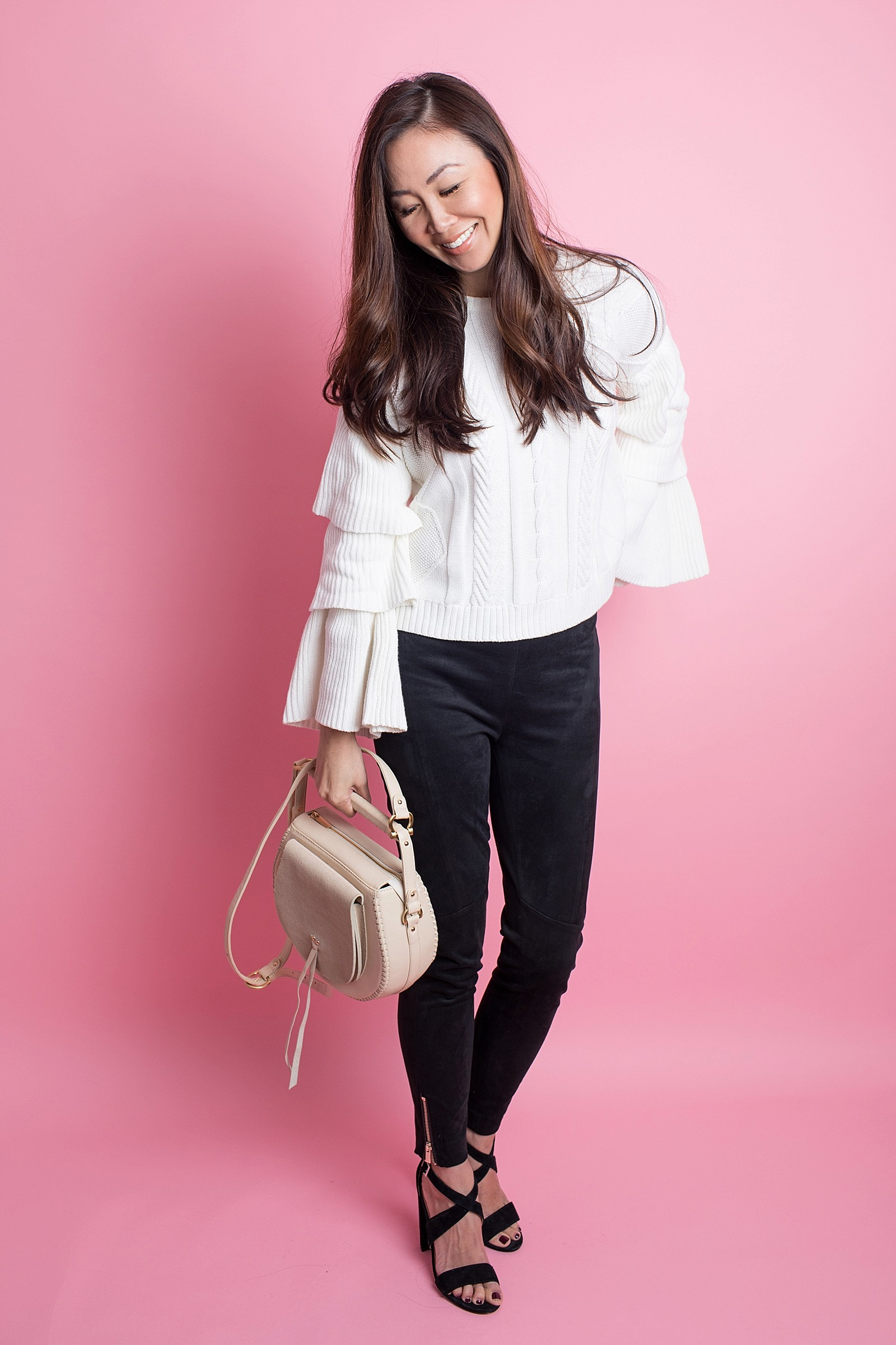 fashion blogger phoenix diana Elizabeth neutral outfit ruffled top sleeves