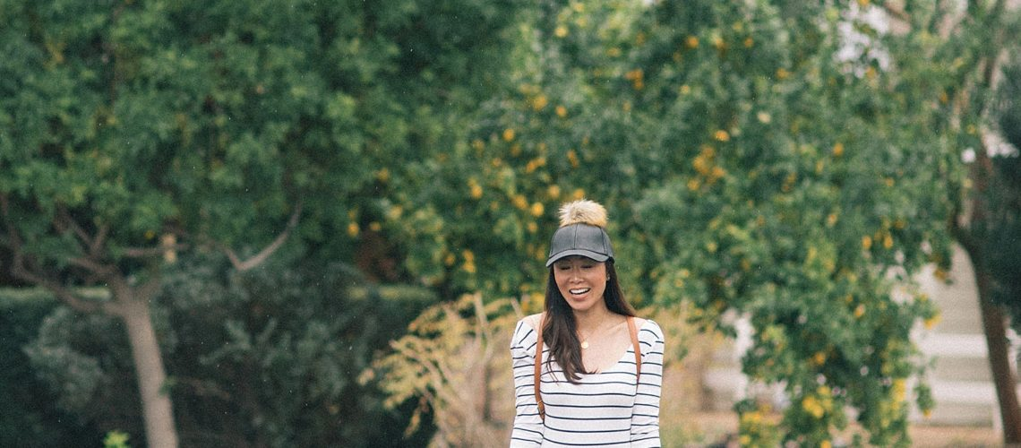 fashion blogger phoenix diana Elizabeth neutral outfit pom pom hat