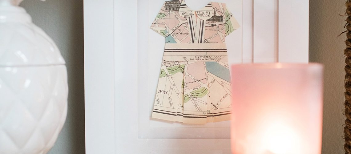 map dress out of travel paper or maps