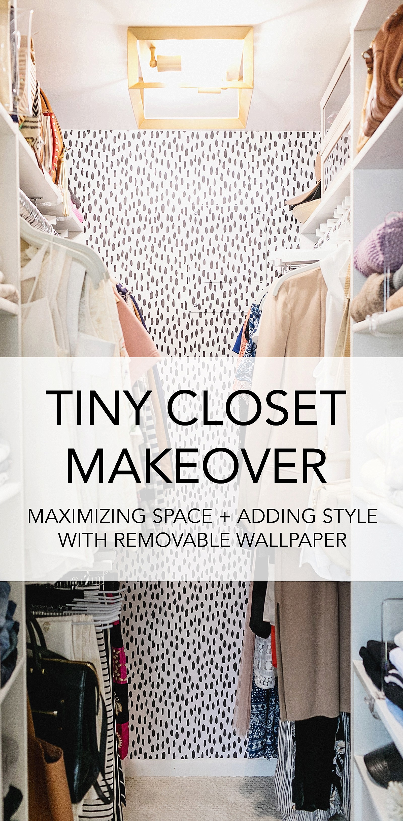 tiny closet makeover DIY closet design removable wallpaper