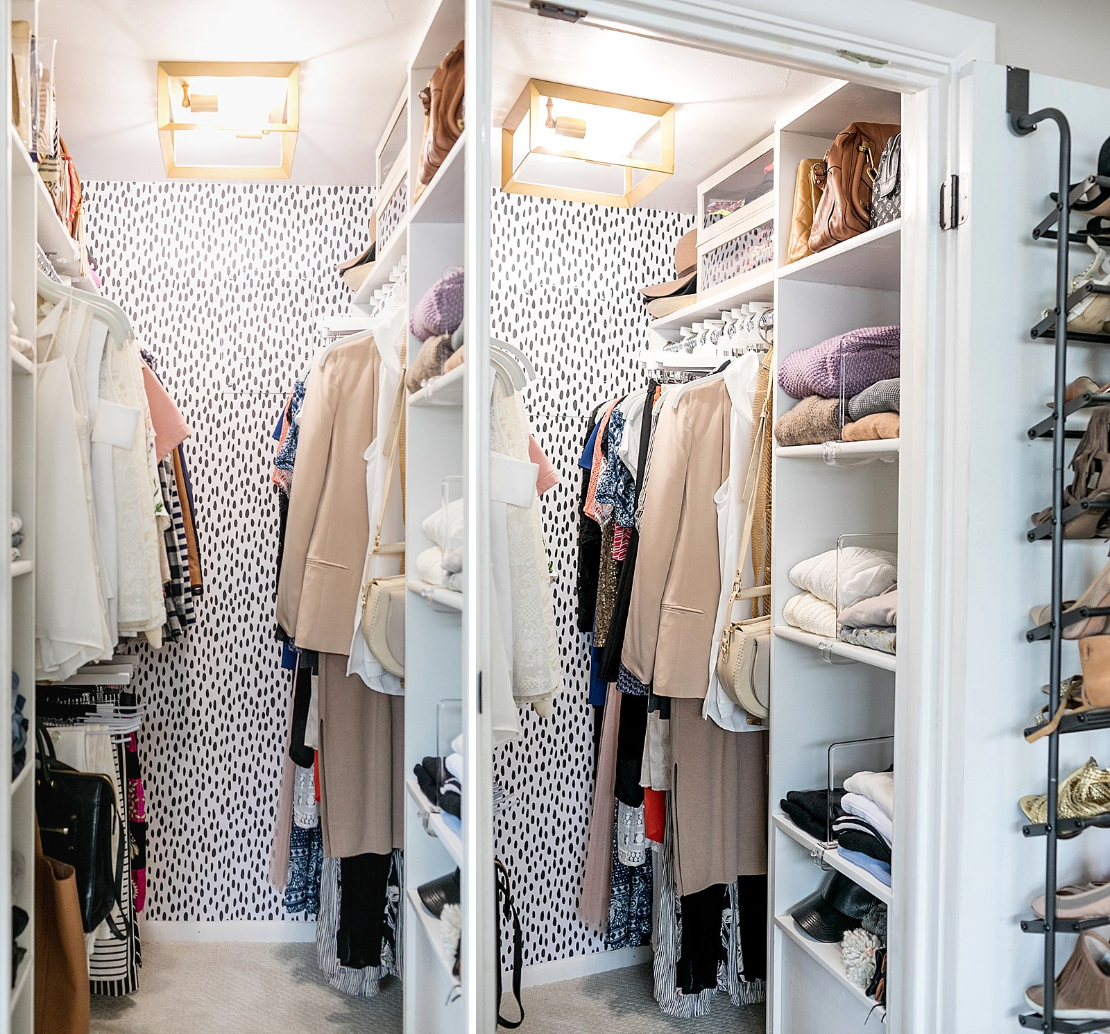 classy feminine closet small tiny home and space but redone and fits so much more look at the removable wallpaper