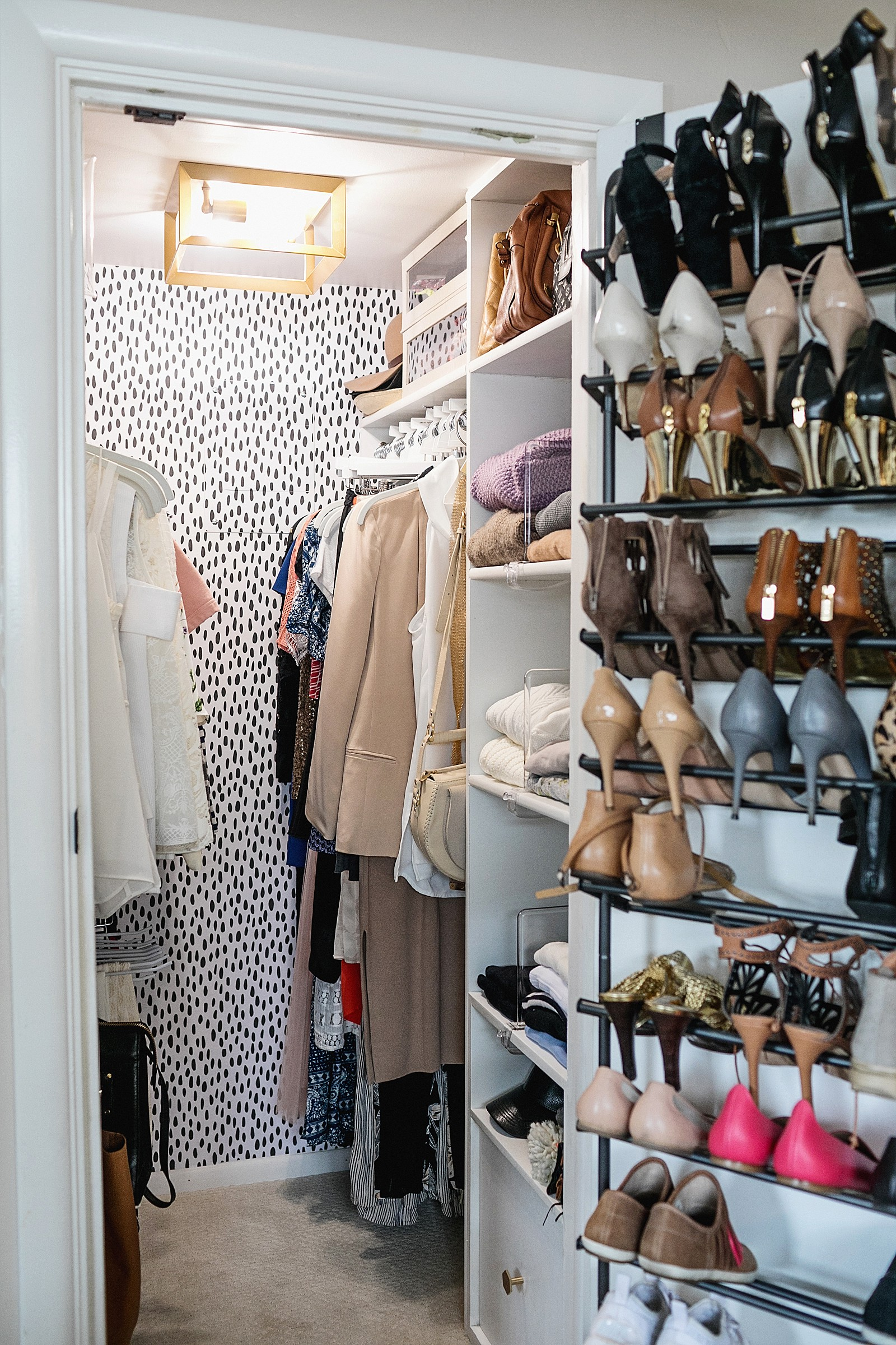 closet open with shoes on the door to explain how to sell closet items used clothing online through an app called poshmark