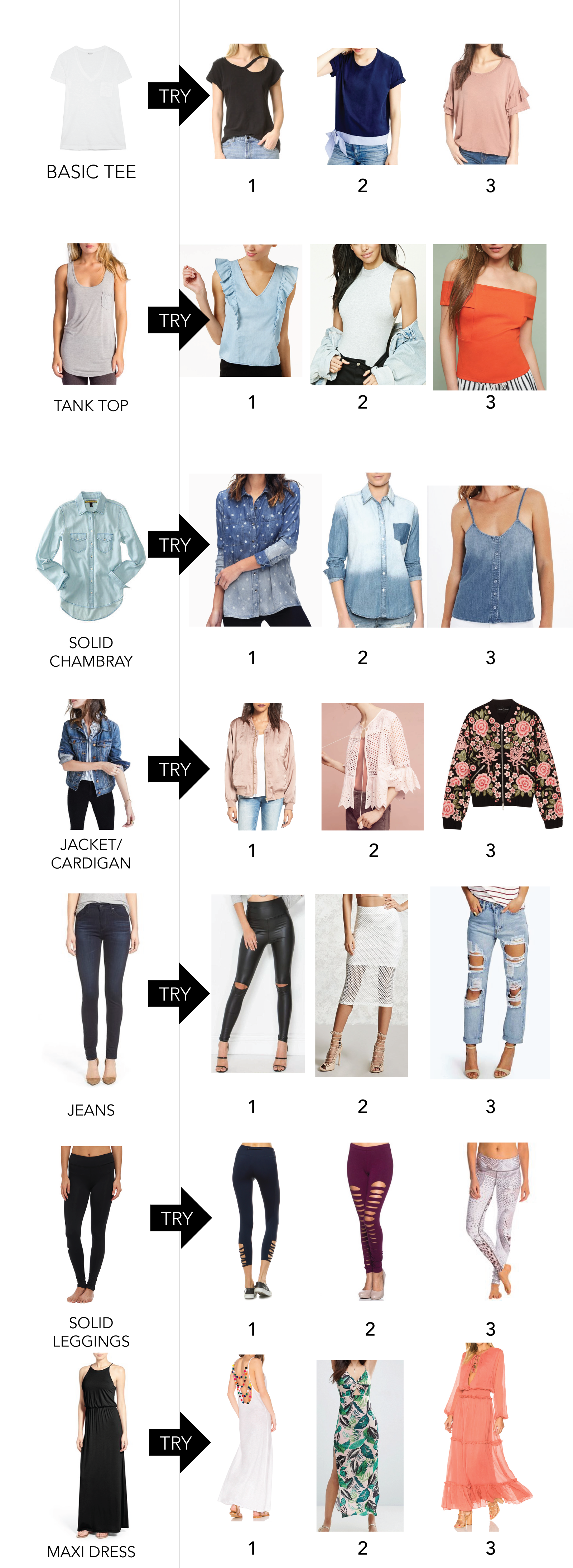 shopping for basics or have a wardrobe full of them? Here are ideas to replace what your typically grab for while shopping. Mix them with your basics!