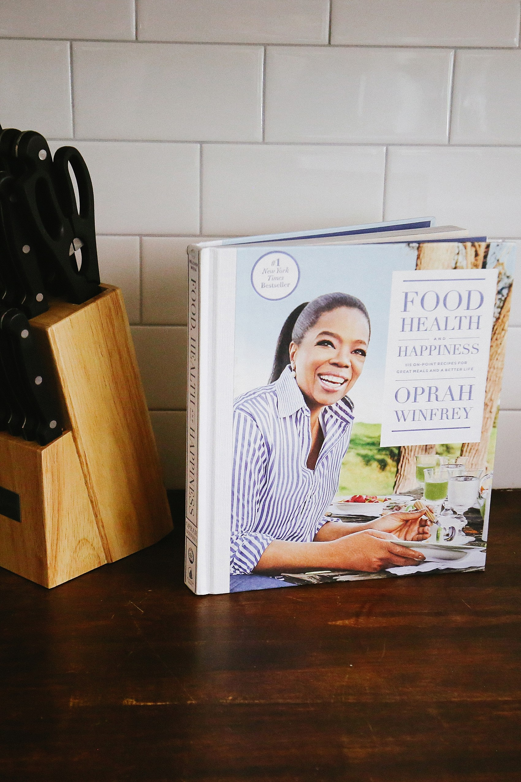 Oprah's new cooking book on kitchen counter top