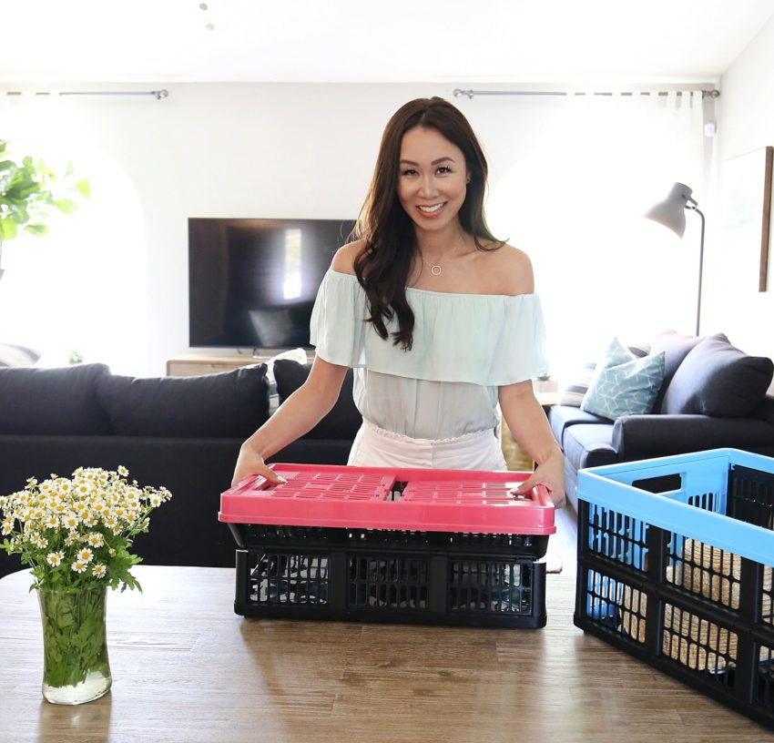 Saving space with CleverMade Collapsible Crates + a Giveaway!