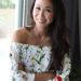 Lifestyle blogger Diana Elizabeth against window in floral strapless top
