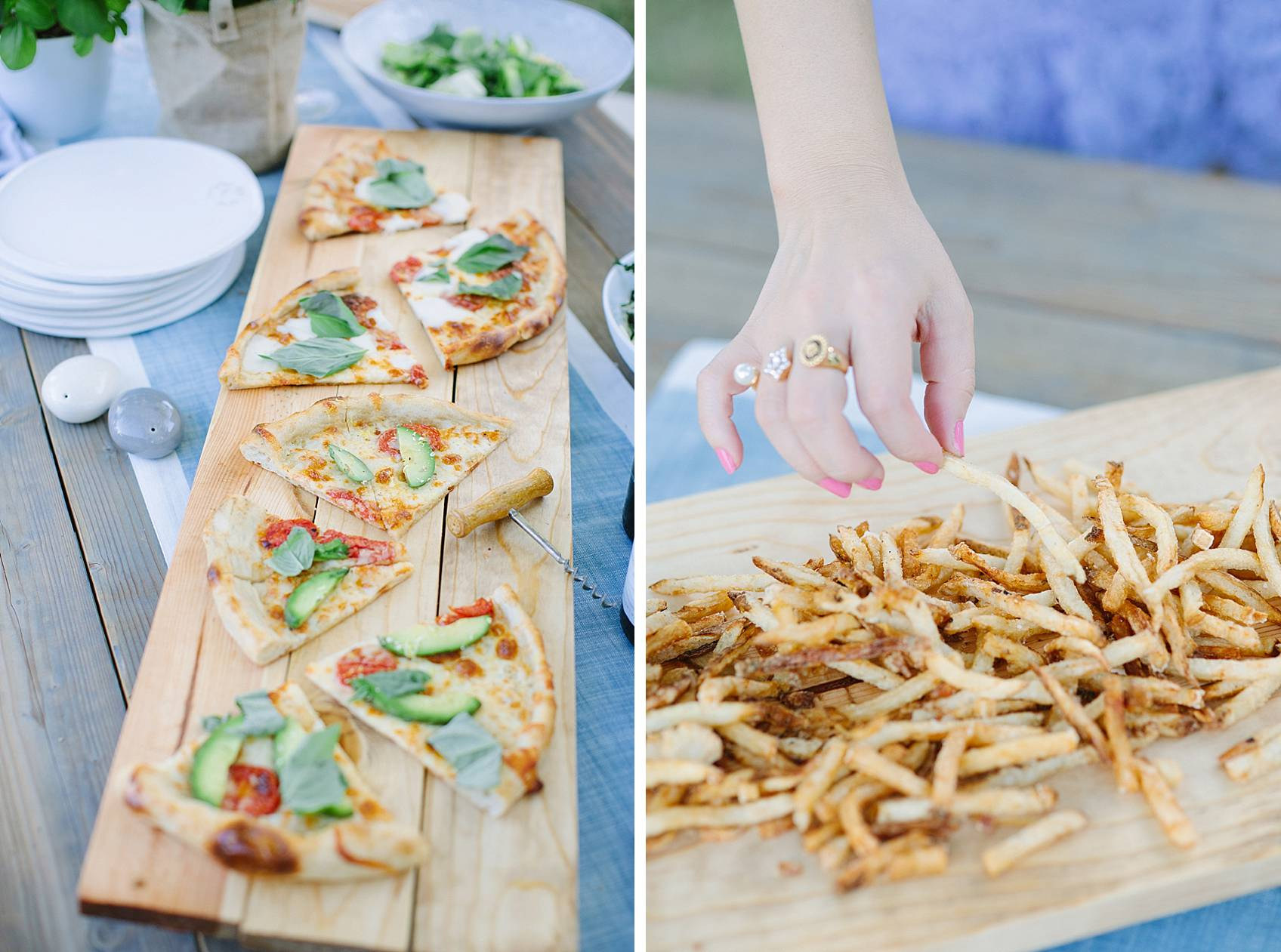 wood board DIY with pizza and French fries
