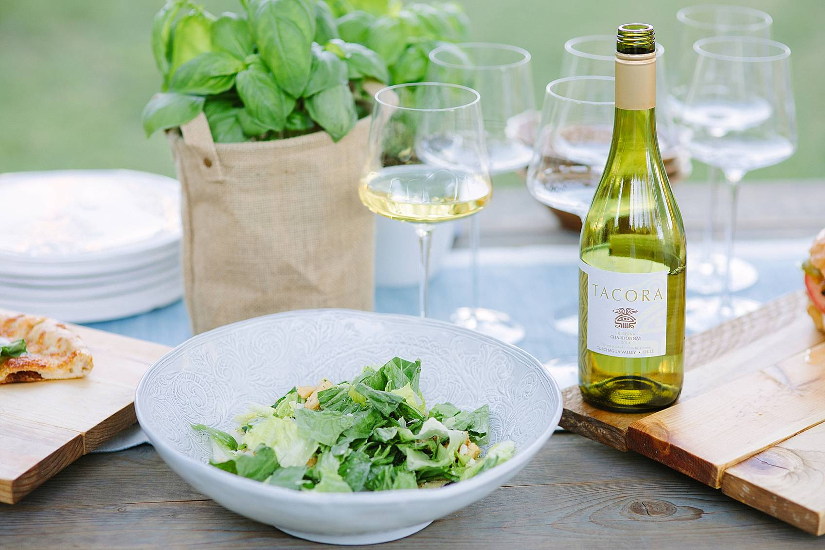 Caesar salad with Tacora Chardonnay 2013 from Colchagua; Chile