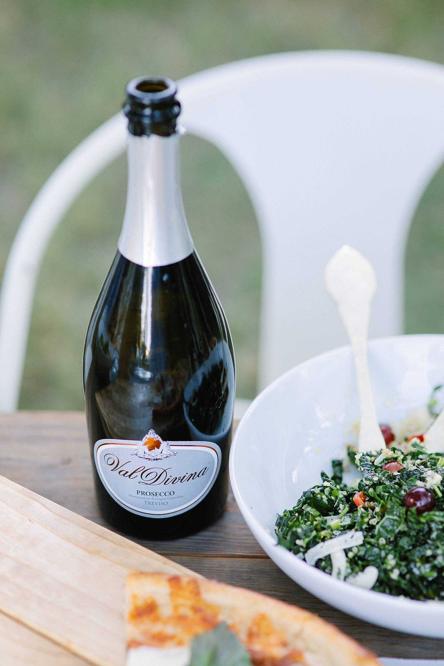Shredded kale salad with Val Divina Prosecco Sparkling Wine from Veneto; Italy