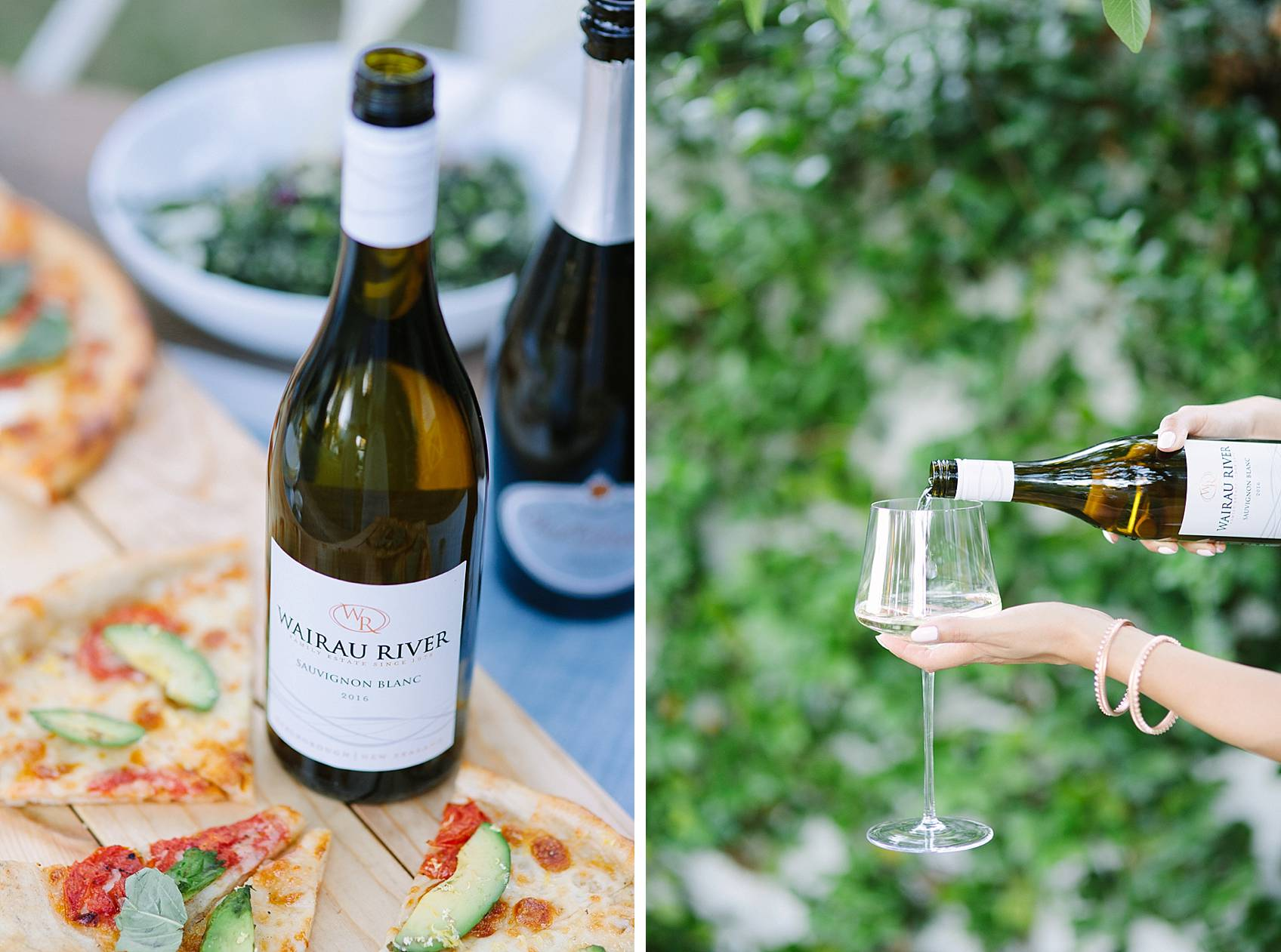 Avocado pizza paired with the Wairau River Sauvignon Blanc 2016 from Marlborough; New Zealand