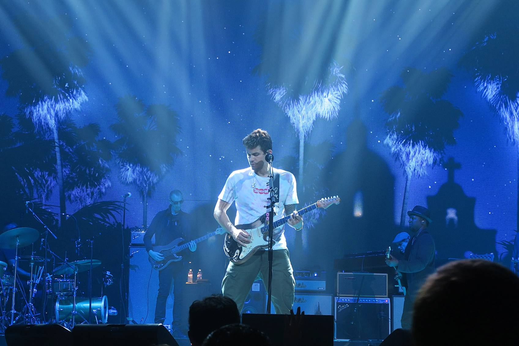 John Mayer performing in Phoenix on stage for his The Search for Everything Tour several spotlights on him