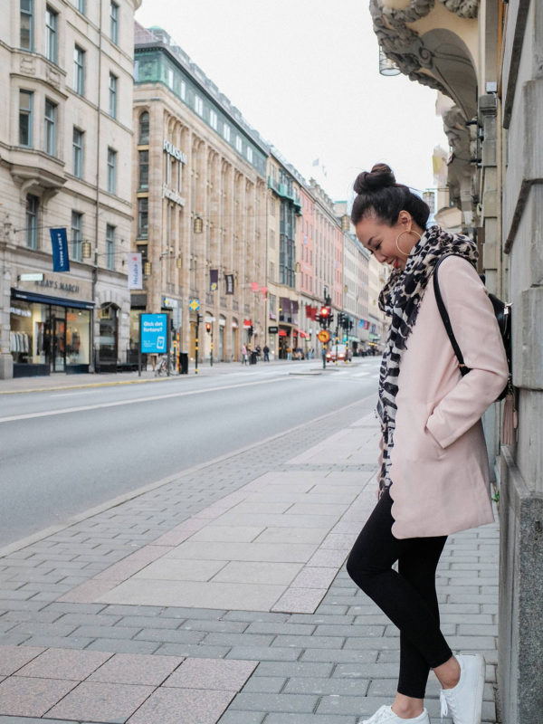 lifestyle travel blogger diana Elizabeth on streets of Stockholm Sweden