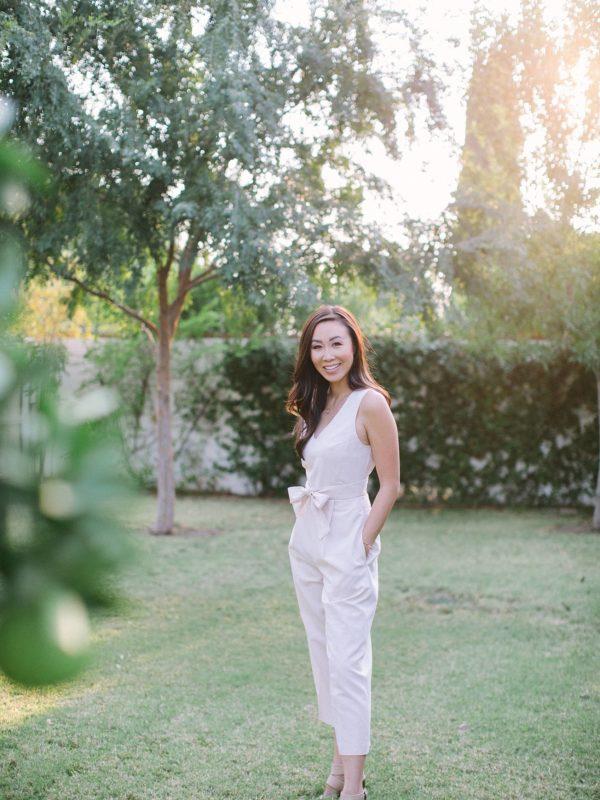 Diana Elizabeth lifestyle blogger wearing blush club Monaco jumpsuit