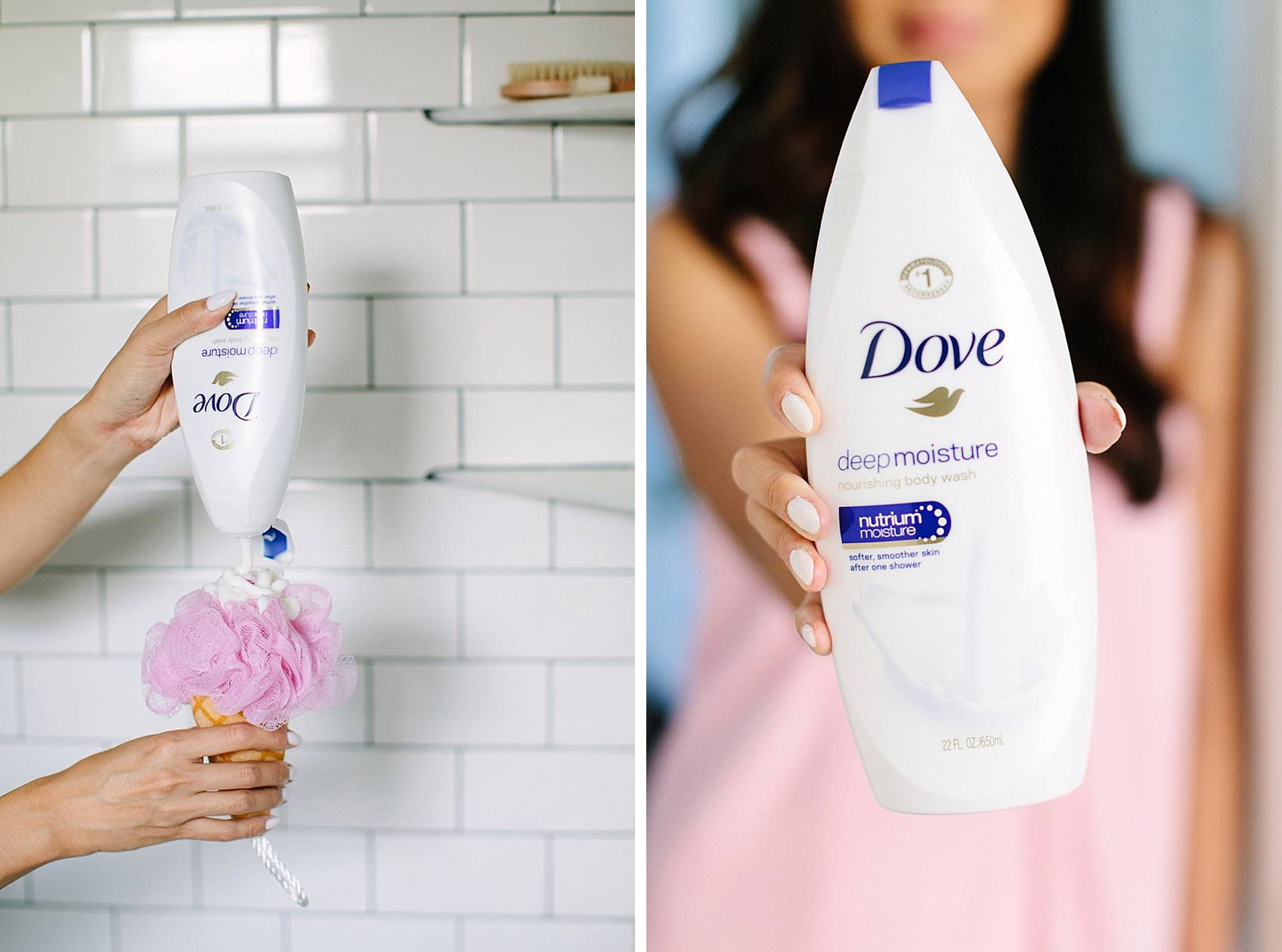 holding dove beauty wash