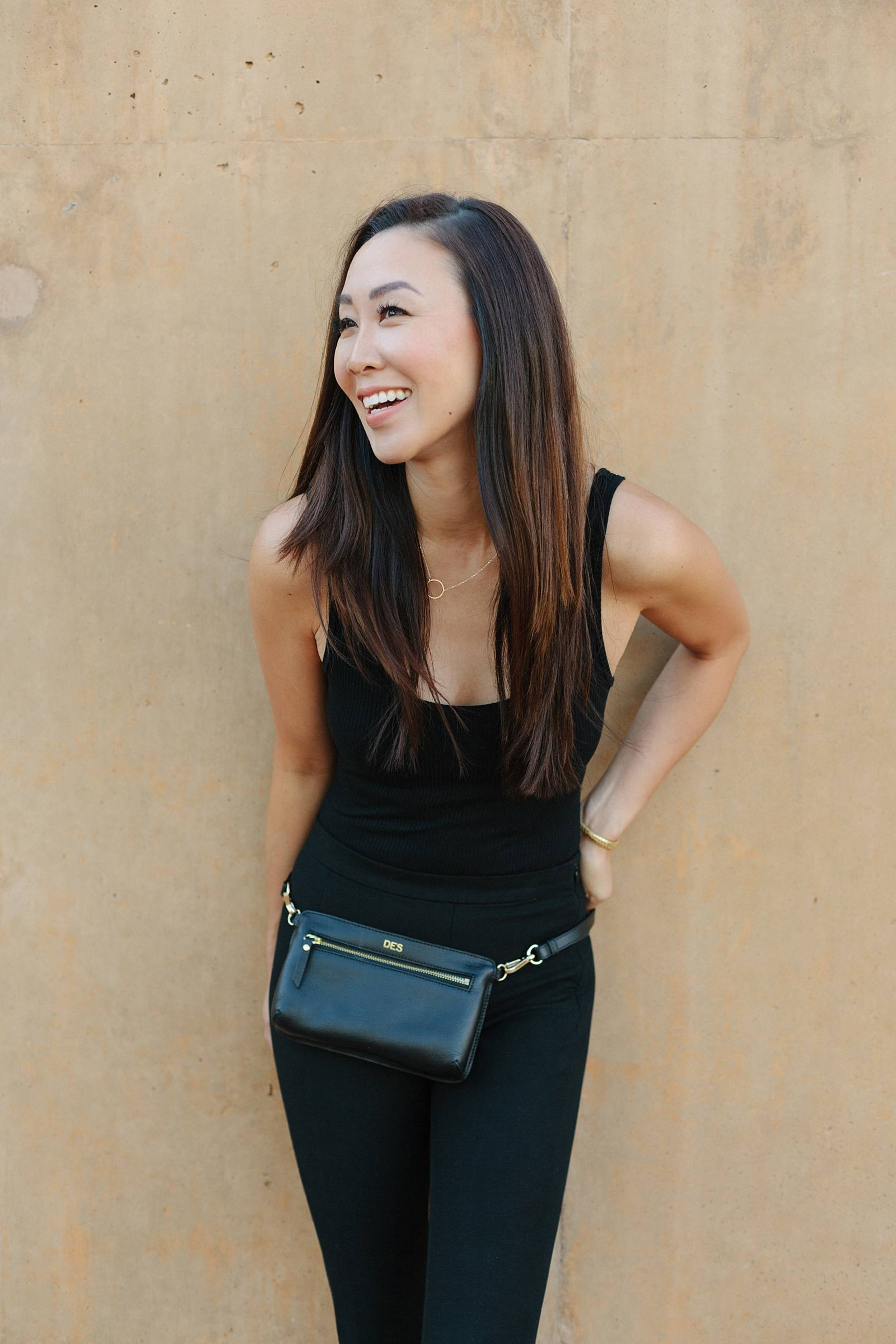 black leather fanny pack outfit wearing all black outfit ideas