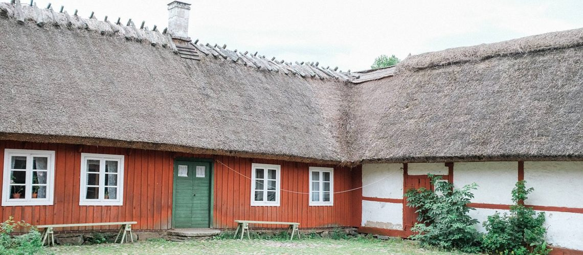 skansen stockholm cottage living decor for inspiration, red house with green door