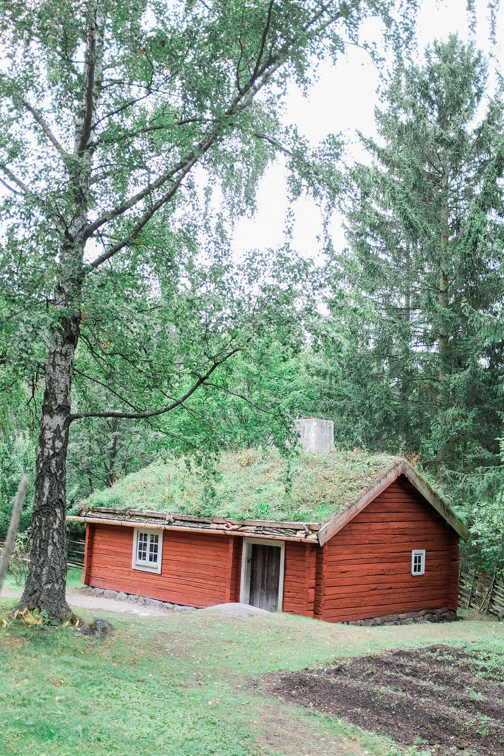 skansen stockholm cottage living decor for inspiration, red house with plants on the roof