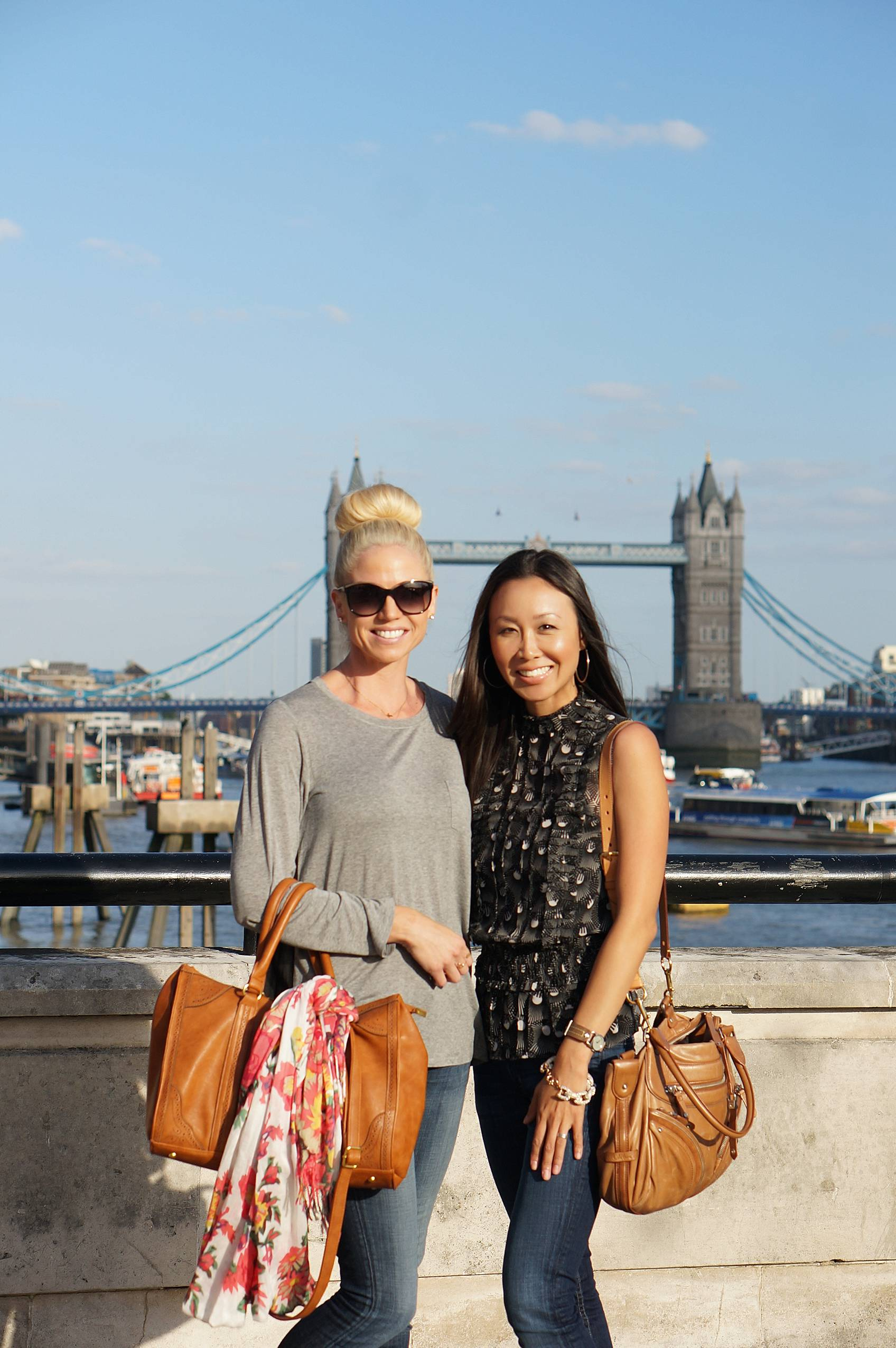 diana Elizabeth blogger with friend in front of Tower of London Bridge