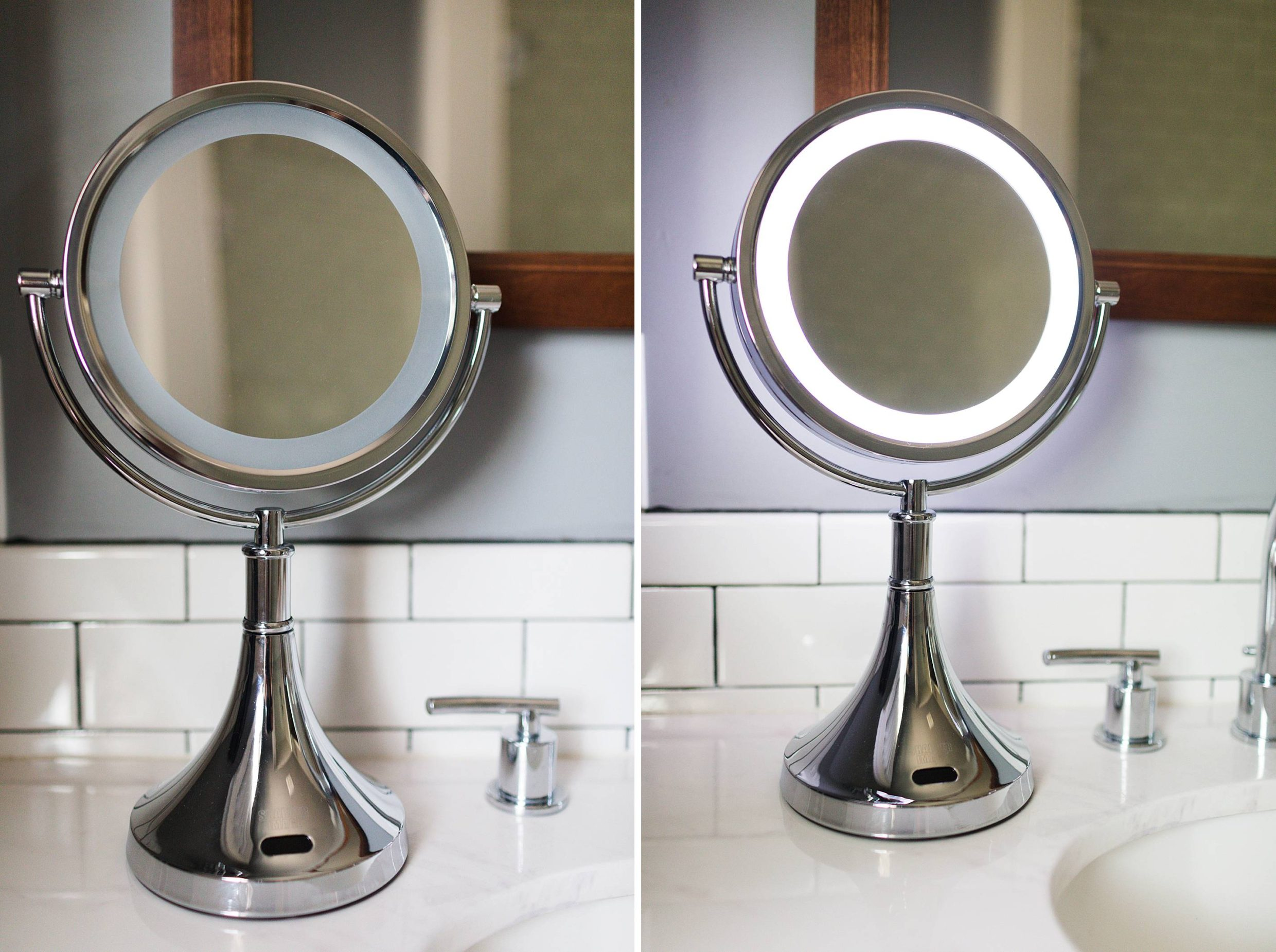 LED motion sensor beauty mirror 8x magnification and cord free