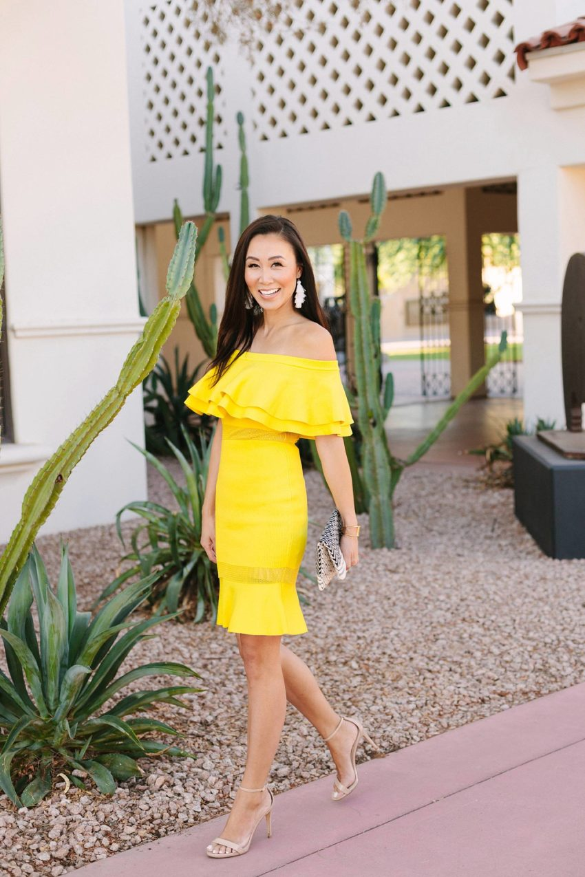 yellow ruffle dress on lifestyle blogger diana Elizabeth at heard museum