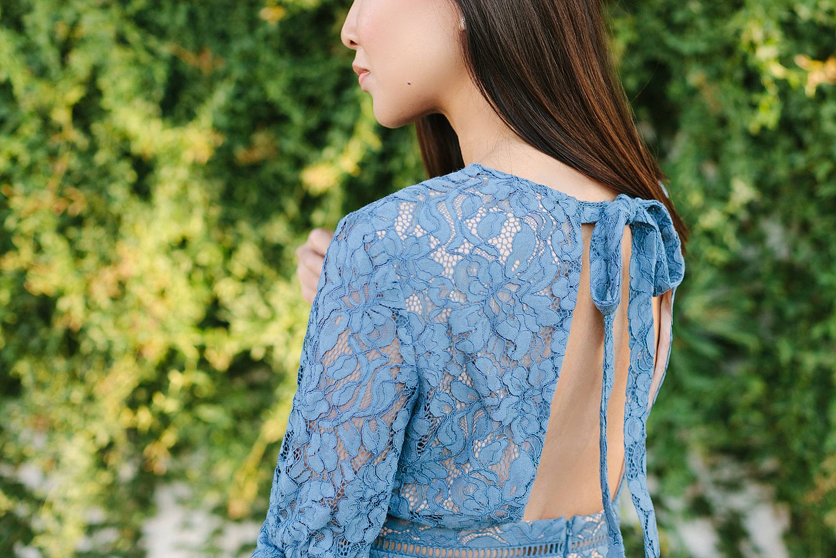 blue lace dress on lifestyle blogger diana elizabeth