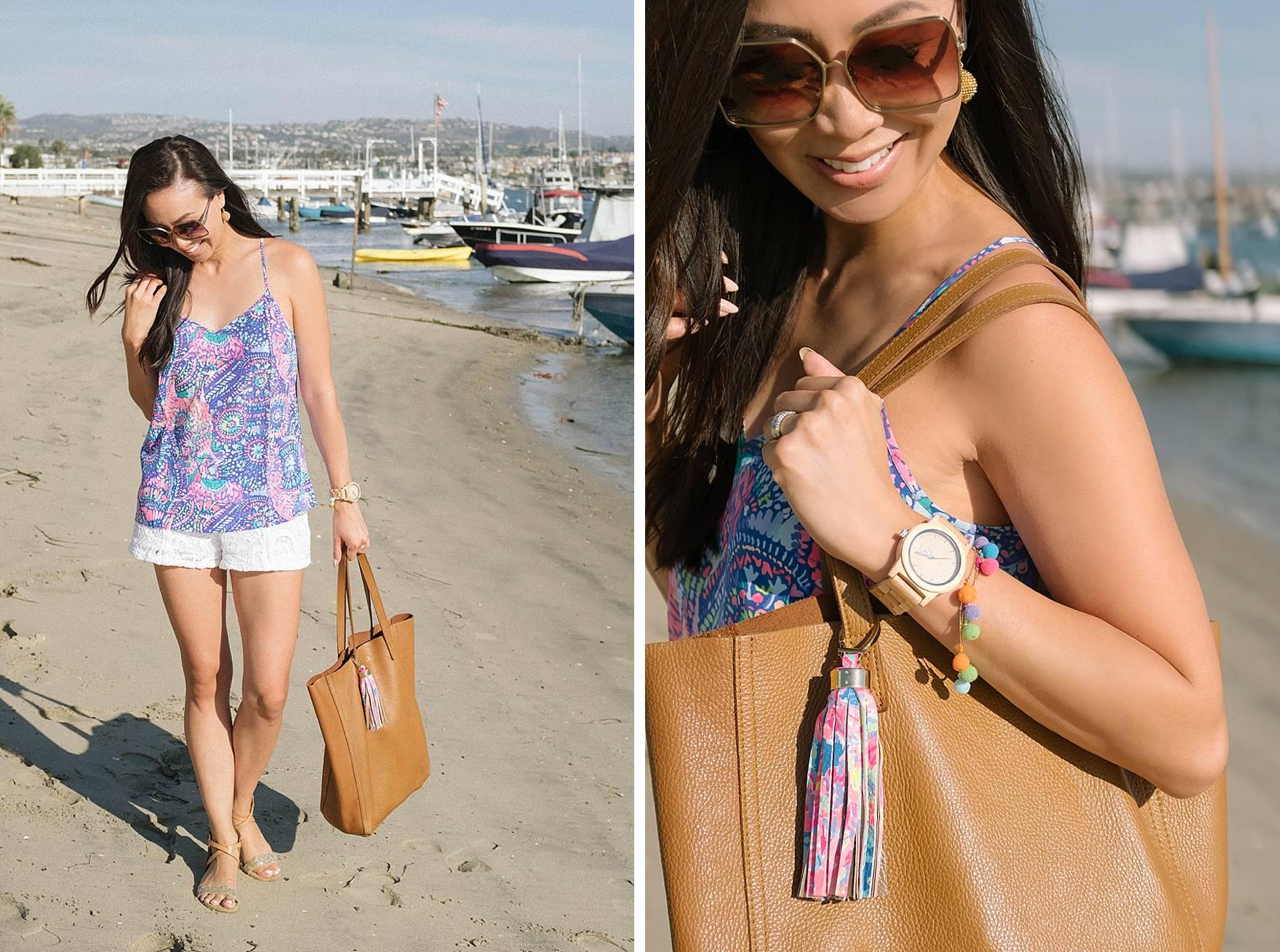 Lilly Pulitzer DUSK RACER BACK SILK TANK TOP, walking along Balboa Island