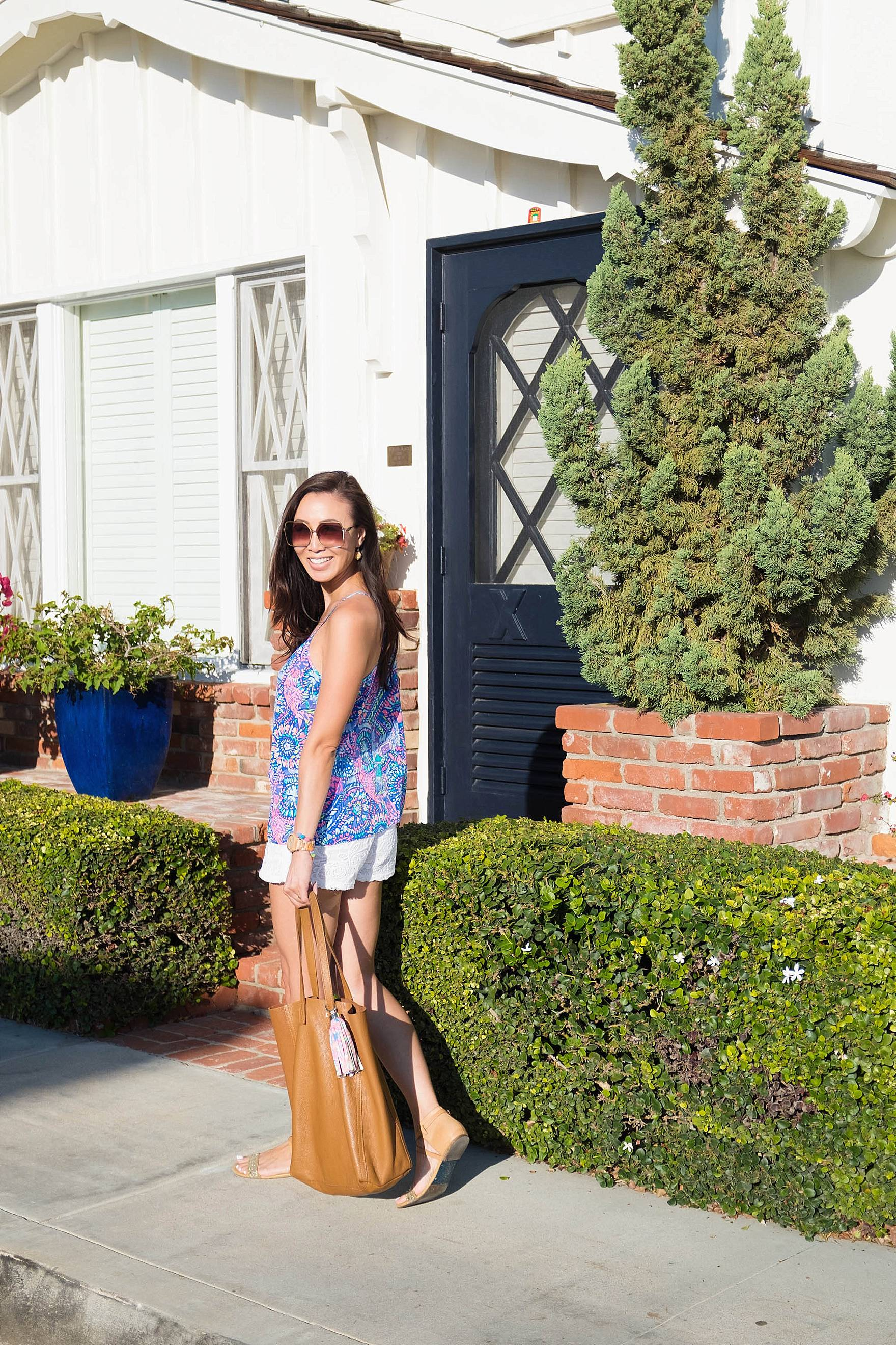 Lilly Pulitzer DUSK RACER BACK SILK TANK TOP, walking around Balboa Island