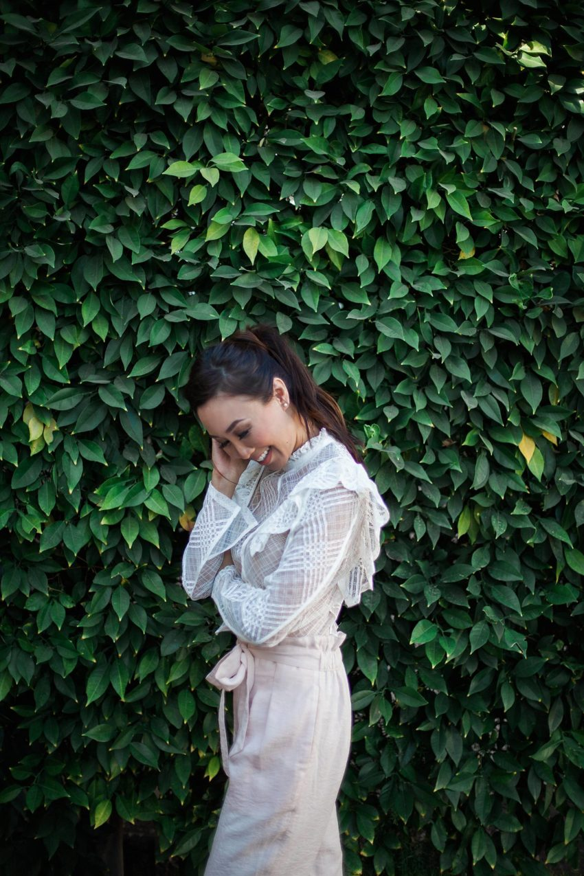 Leia Pant blush pant by Club Monaco with white ruffle top on blogger Diana Elizabeth