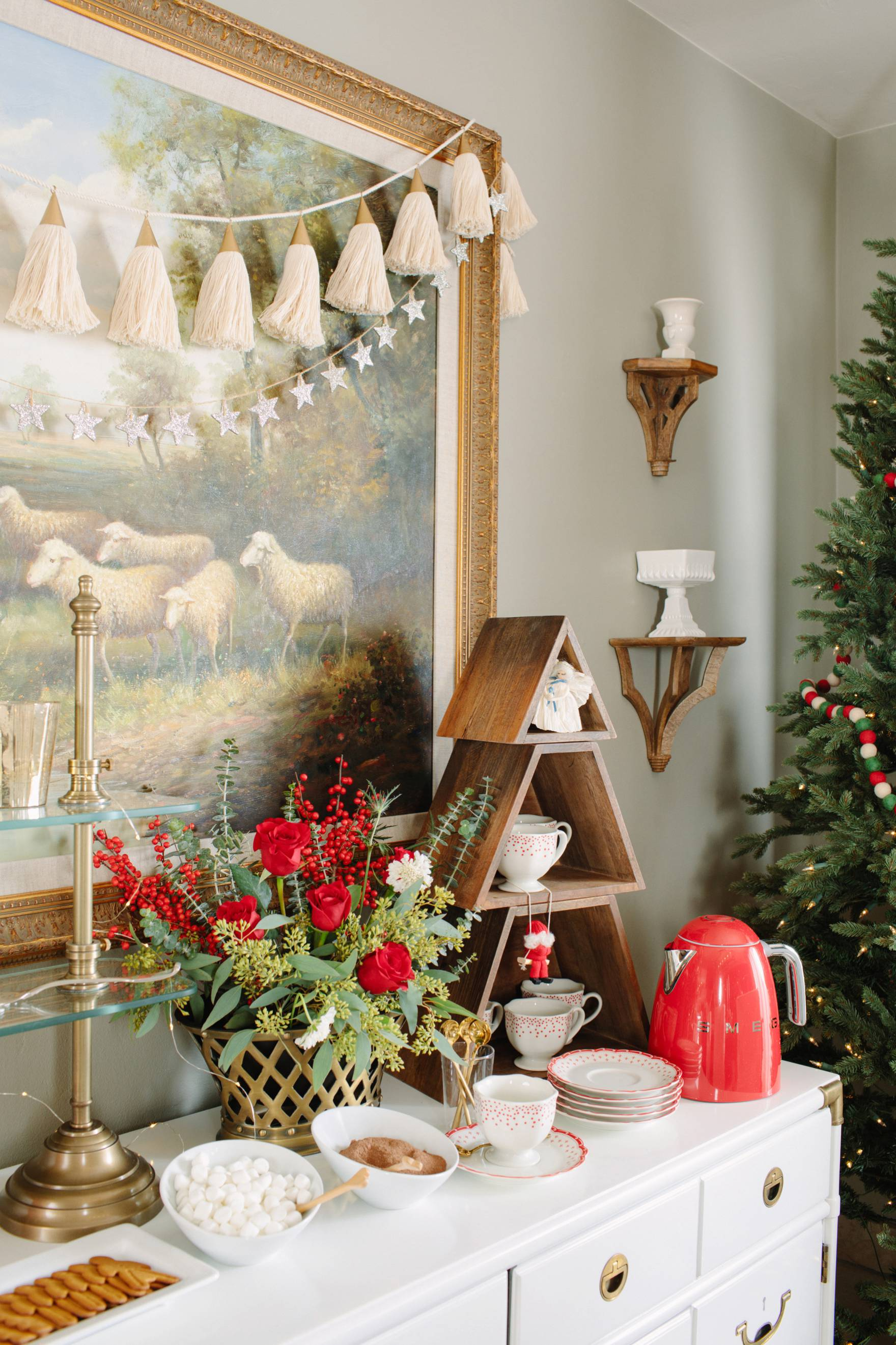 Christmas holiday tables cape inspiration red green and white Ballard Designs with blogger Diana Elizabeth cocoa bar
