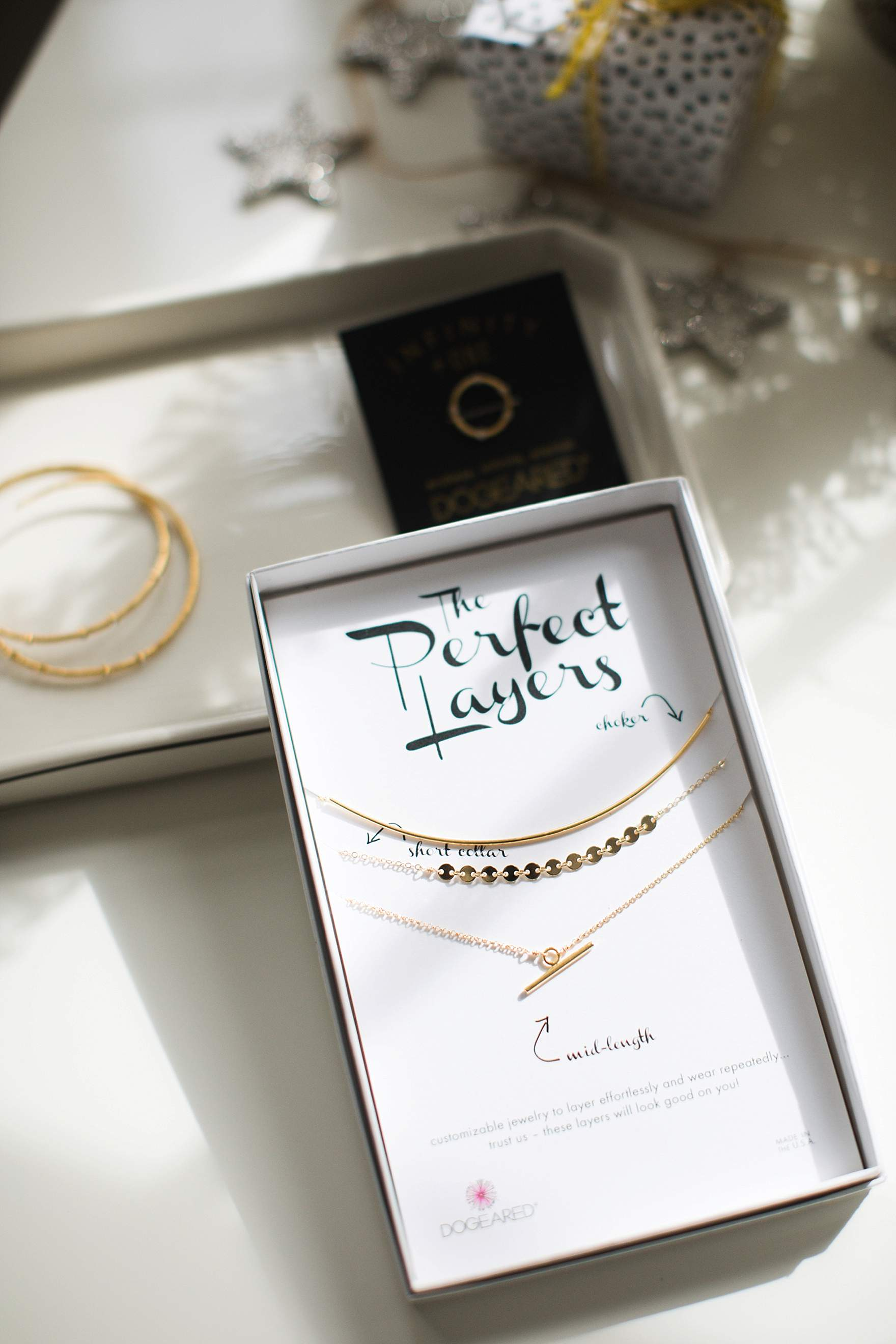 dainty necklaces gold, rose gold or silver plated by Dogeared good for holiday gifting for occasions and comes on a card that has an inspirational message