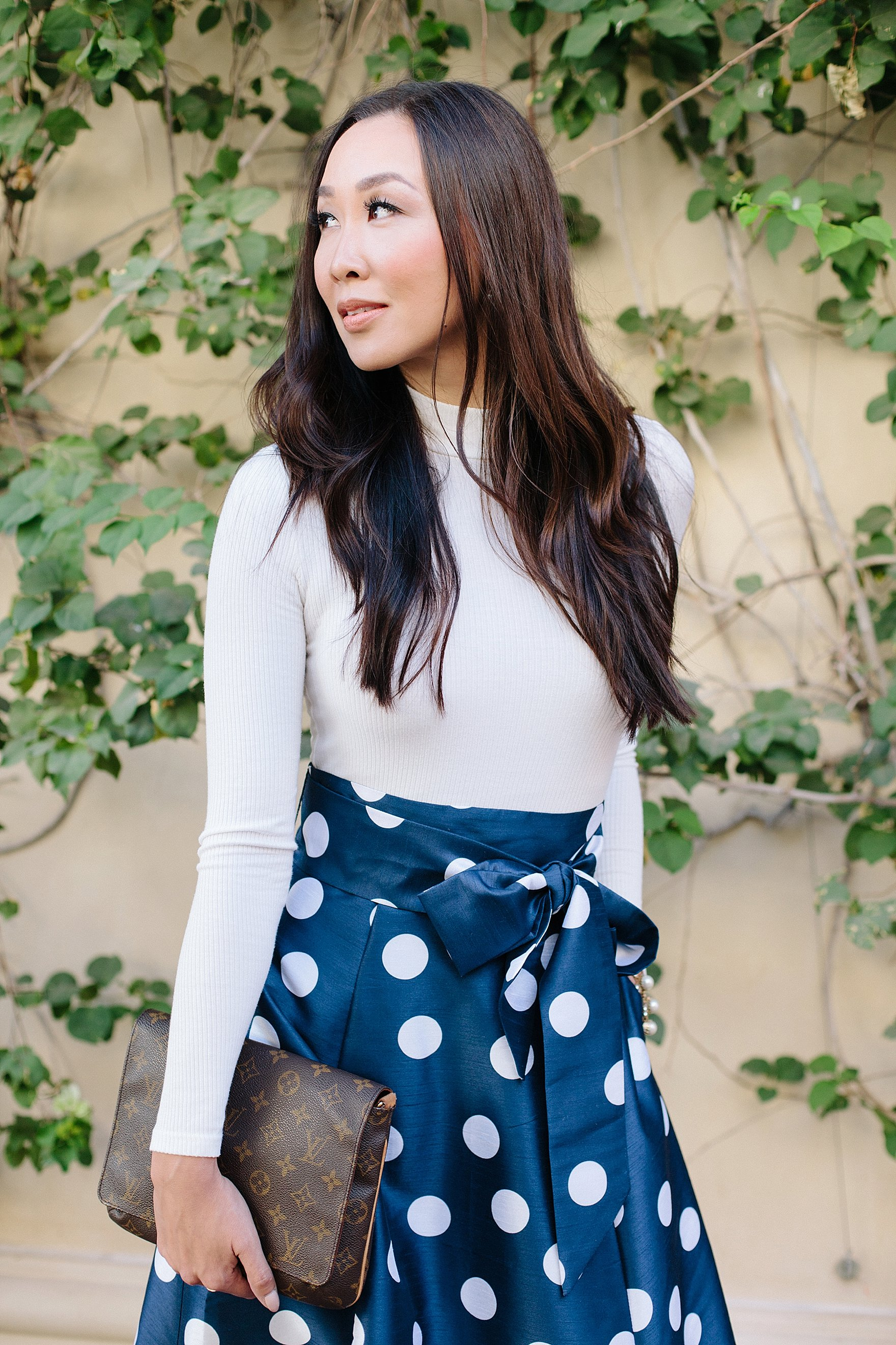 blue and white polka dot long skirt custom by eShakti with pockets! Great holiday dress outfit look on blogger Diana Elizabeth