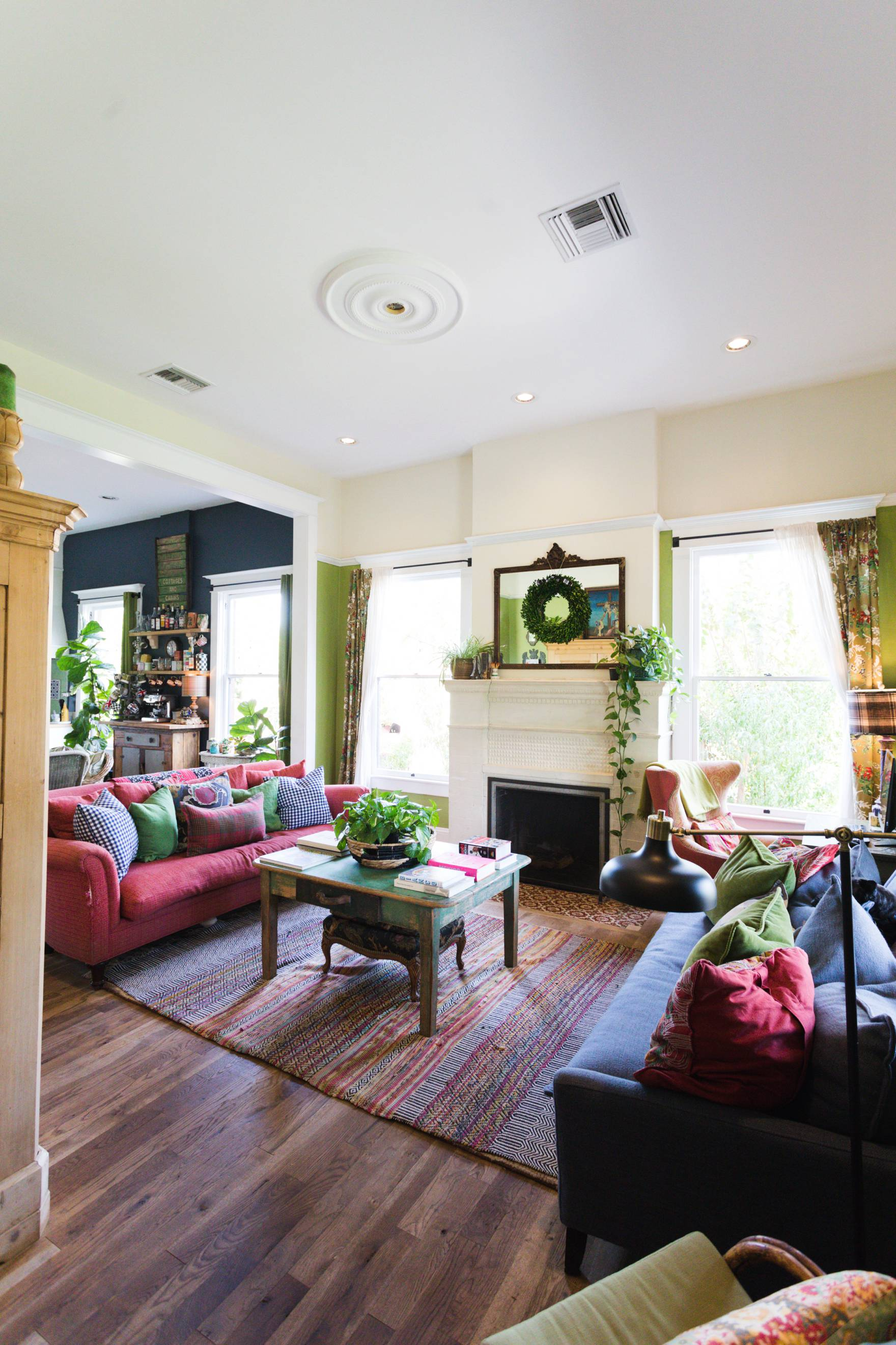 Home Tour of Boho Farm and Home in Downtown Phoenix - cottage brick style home from 1903 Living room, bright airy space